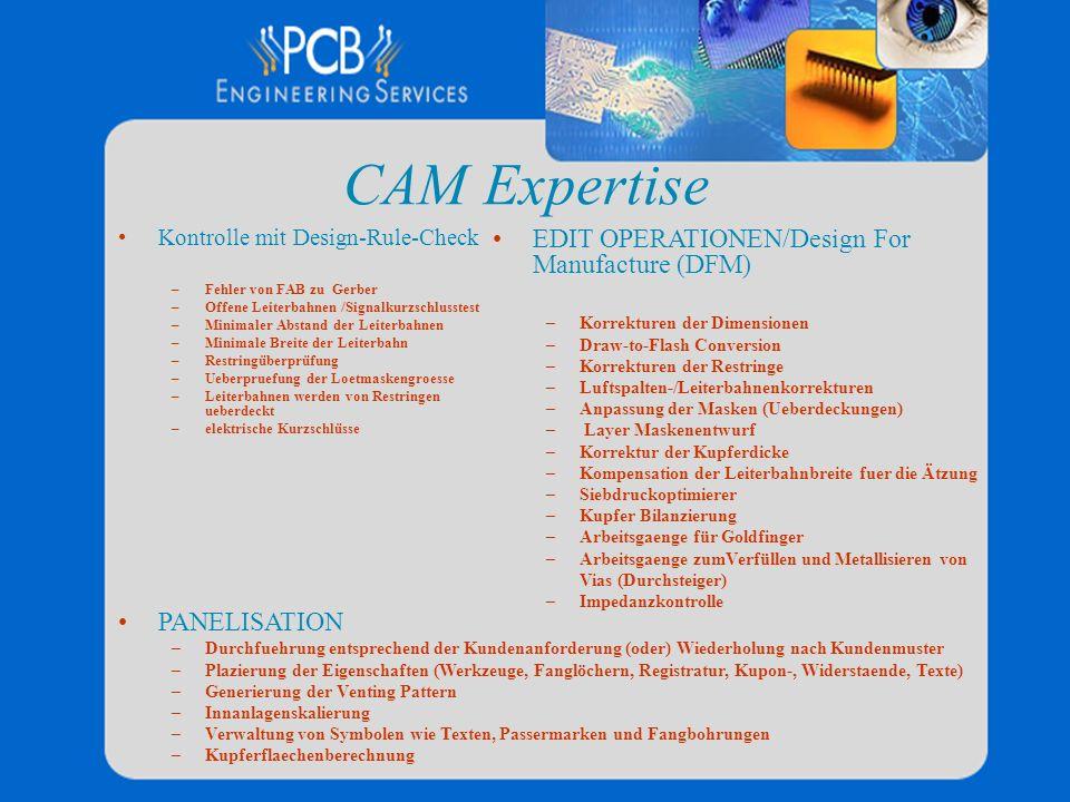 CAM Expertise Kontrolle mit Design-Rule-Check –Fehler von FAB zu Gerber –Offene Leiterbahnen /Signalkurzschlusstest –Minimaler Abstand der Leiterbahne