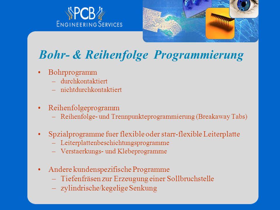 Bohr- & Reihenfolge Programmierung Bohrprogramm –durchkontaktiert –nichtdurchkontaktiert Reihenfolgeprogramm –Reihenfolge- und Trennpunkteprogrammieru