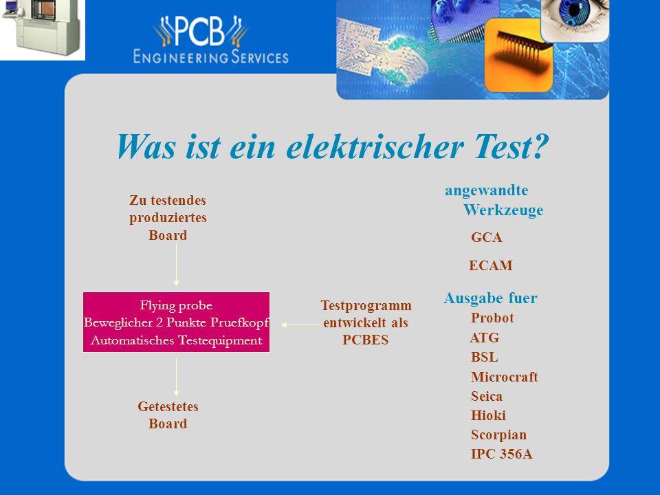 Was ist ein elektrischer Test? Testprogramm entwickelt als PCBES Zu testendes produziertes Board Getestetes Board angewandte Werkzeuge GCA ECAM Ausgab