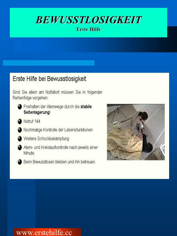 BEWUSSTLOSIGKEIT Erste Hilfe www.erstehilfe.cc