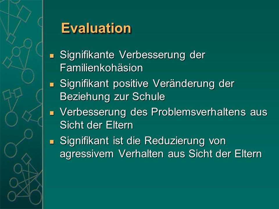 EvaluationEvaluation Signifikante Verbesserung der Familienkohäsion Signifikante Verbesserung der Familienkohäsion Signifikant positive Veränderung de