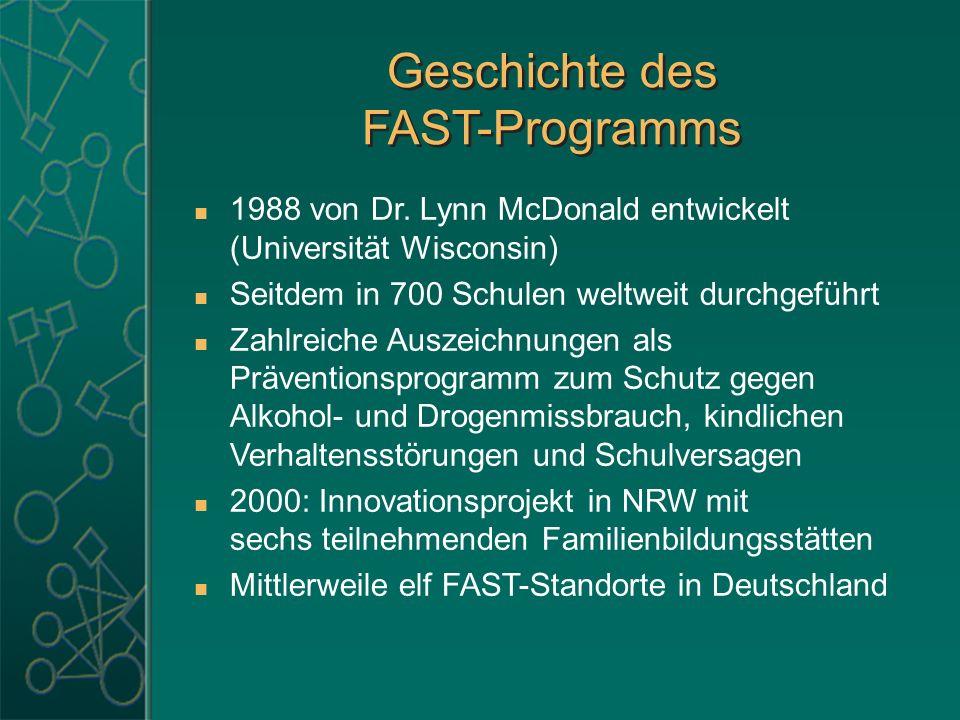 Geschichte des FAST-Programms Geschichte des FAST-Programms 1988 von Dr. Lynn McDonald entwickelt (Universität Wisconsin) Seitdem in 700 Schulen weltw