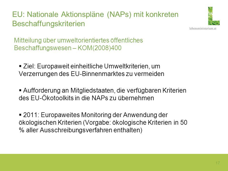 17 EU: Nationale Aktionspläne (NAPs) mit konkreten Beschaffungskriterien Mitteilung über umweltorientiertes öffentliches Beschaffungswesen – KOM(2008)