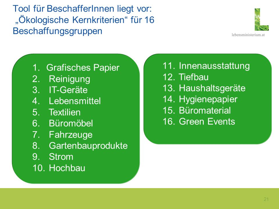 21 Tool für BeschafferInnen liegt vor: Ökologische Kernkriterien für 16 Beschaffungsgruppen 1.Grafisches Papier 2. Reinigung 3. IT-Geräte 4. Lebensmit