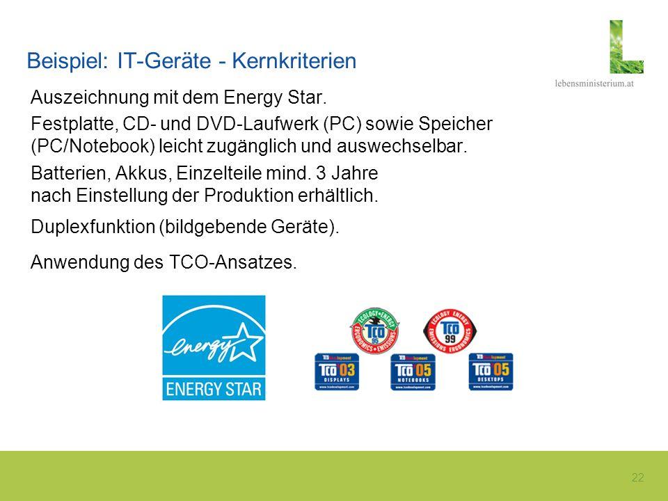 22 Beispiel: IT-Geräte - Kernkriterien Auszeichnung mit dem Energy Star. Festplatte, CD- und DVD-Laufwerk (PC) sowie Speicher (PC/Notebook) leicht zug