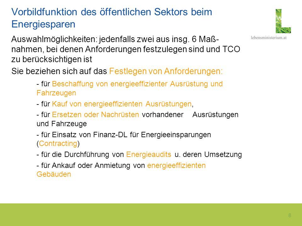 8 Vorbildfunktion des öffentlichen Sektors beim Energiesparen Auswahlmöglichkeiten: jedenfalls zwei aus insg. 6 Maß- nahmen, bei denen Anforderungen f