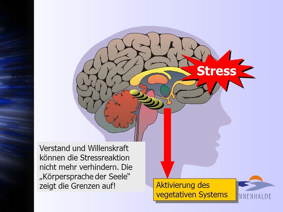 Stress Aktivierung des vegetativen Systems Verstand und Willenskraft können die Stressreaktion nicht mehr verhindern. Die Körpersprache der Seele zeig