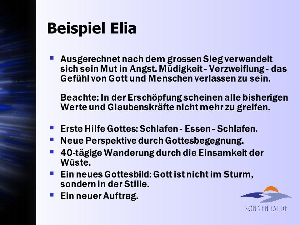 Beispiel Elia Ausgerechnet nach dem grossen Sieg verwandelt sich sein Mut in Angst. Müdigkeit - Verzweiflung - das Gefühl von Gott und Menschen verlas