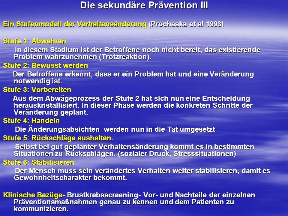 Die sekundäre Prävention III Ein Stufenmodell der Verhaltensänderung (Prochaska et al 1993) Stufe 1: Abwehren In diesem Stadium ist der Betroffene noc