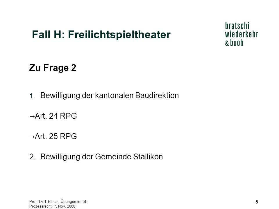 Prof. Dr. I. Häner, Übungen im öff. Prozessrecht, 7. Nov. 2008 5 Zu Frage 2 1. Bewilligung der kantonalen Baudirektion Art. 24 RPG Art. 25 RPG 2.Bewil