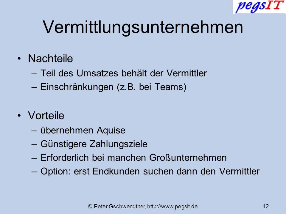 © Peter Gschwendtner, http://www.pegsit.de12 Vermittlungsunternehmen Nachteile –Teil des Umsatzes behält der Vermittler –Einschränkungen (z.B. bei Tea