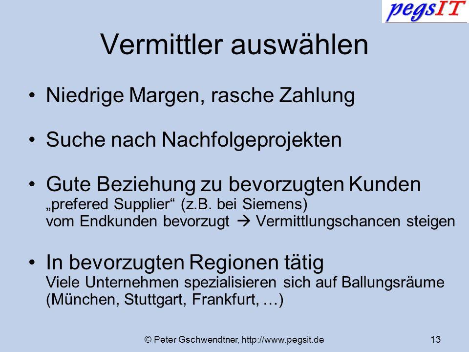 © Peter Gschwendtner, http://www.pegsit.de13 Vermittler auswählen Niedrige Margen, rasche Zahlung Suche nach Nachfolgeprojekten Gute Beziehung zu bevo