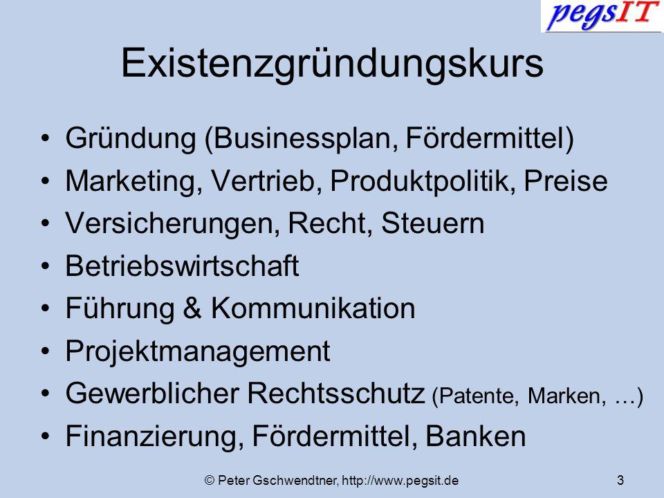 © Peter Gschwendtner, http://www.pegsit.de3 Existenzgründungskurs Gründung (Businessplan, Fördermittel) Marketing, Vertrieb, Produktpolitik, Preise Ve