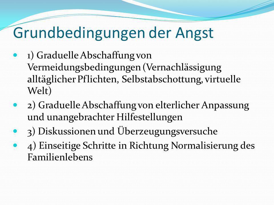Grundbedingungen der Angst 1) Graduelle Abschaffung von Vermeidungsbedingungen (Vernachlässigung alltäglicher Pflichten, Selbstabschottung, virtuelle