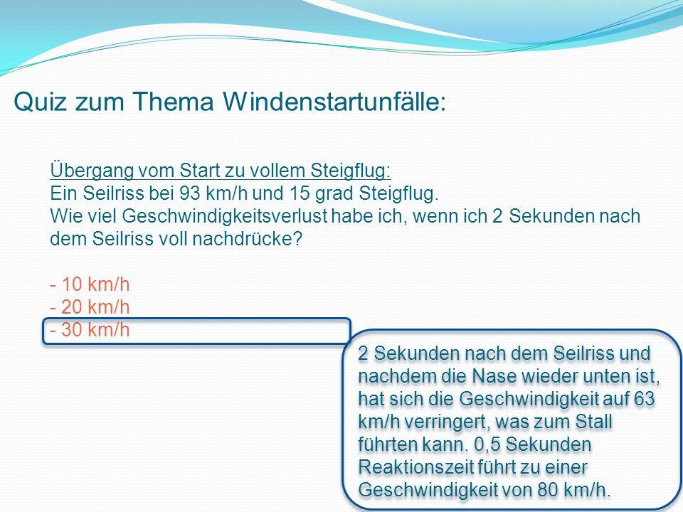 Quiz zum Thema Windenstartunfälle: Übergang vom Start zu vollem Steigflug: Ein Seilriss bei 93 km/h und 15 grad Steigflug.