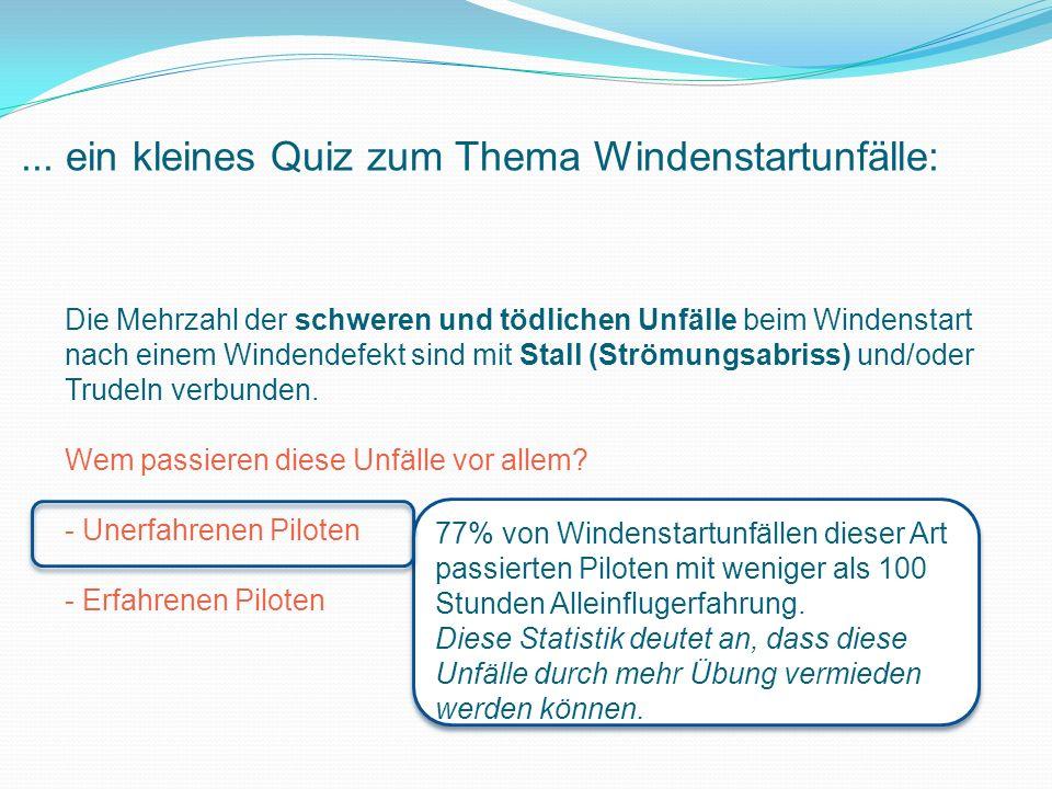 Quiz zum Thema Windenstartunfälle: Unfälle mit Ringelpiez oder Überschlag passieren häufig nach Bodenberührung einer Fläche vor dem Abheben.