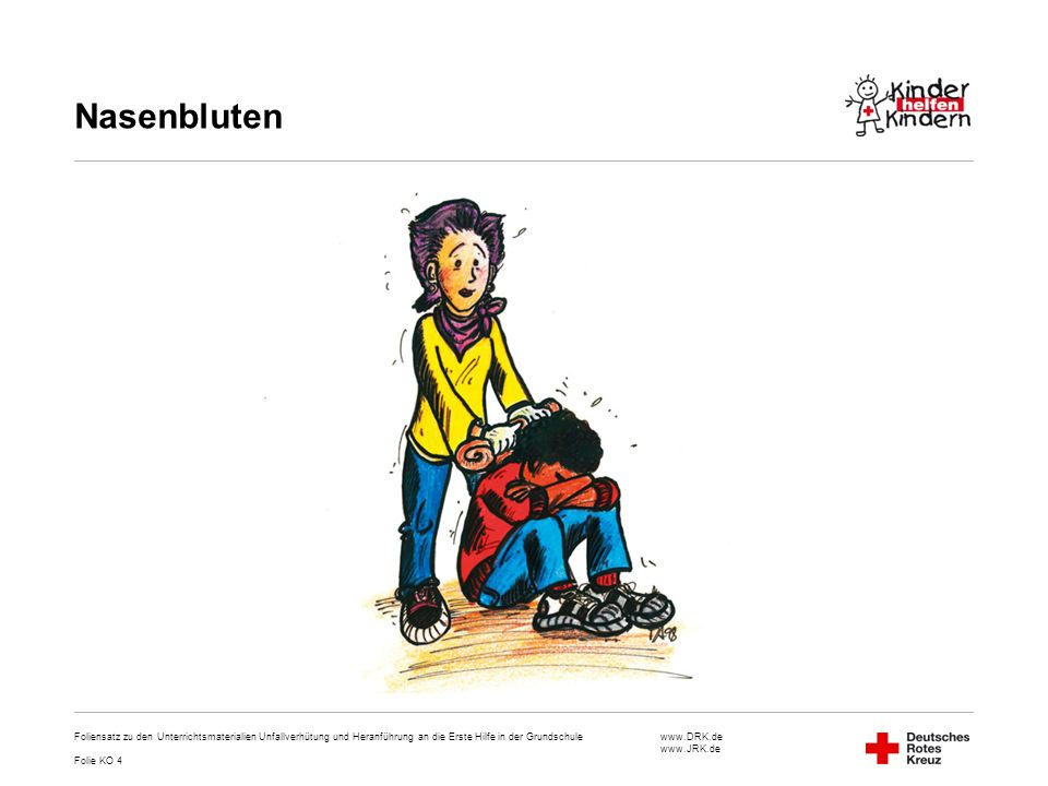 www.DRK.de www.JRK.de Nasenbluten Foliensatz zu den Unterrichtsmaterialien Unfallverhütung und Heranführung an die Erste Hilfe in der Grundschule Foli