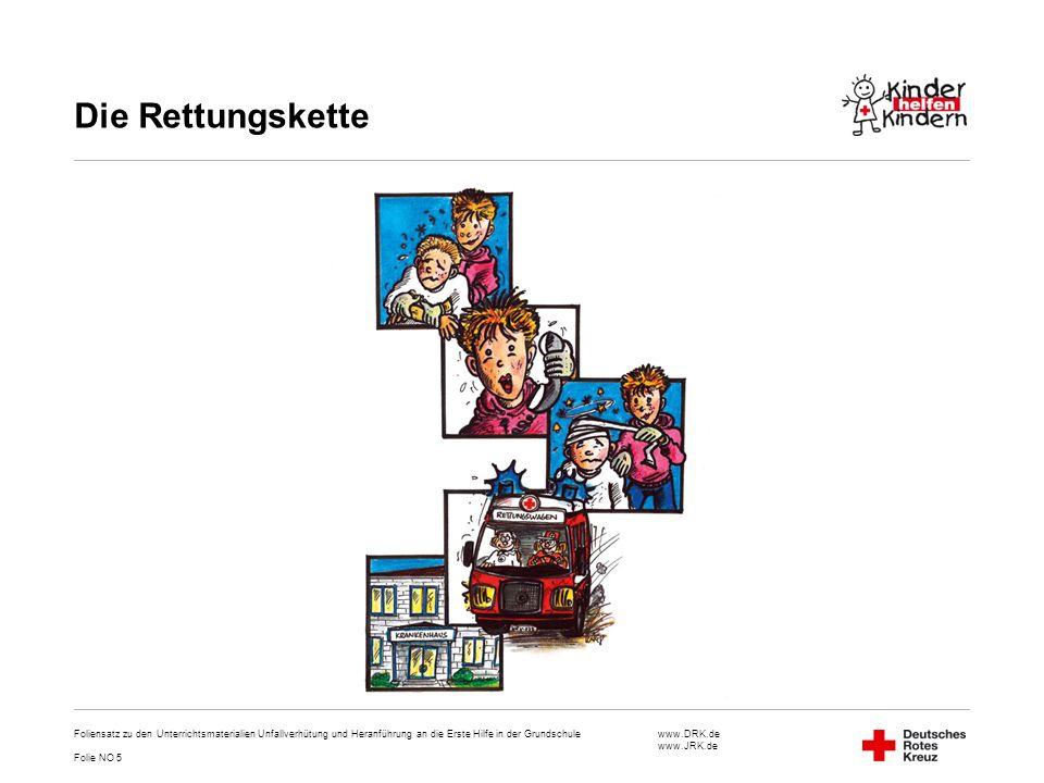 www.DRK.de www.JRK.de Die Rettungskette Foliensatz zu den Unterrichtsmaterialien Unfallverhütung und Heranführung an die Erste Hilfe in der Grundschul