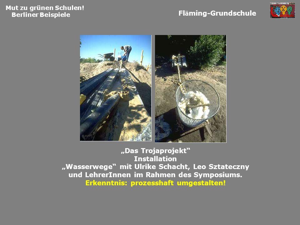 Installation Wasserwege mit Ulrike Schacht, Leo Sztateczny und LehrerInnen im Rahmen des Symposiums. Erkenntnis: prozesshaft umgestalten! Mut zu grüne