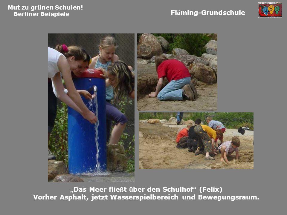 Mut zu grünen Schulen! Berliner Beispiele Fl ä ming-Grundschule Das Meer flie ß t ü ber den Schulhof (Felix) Vorher Asphalt, jetzt Wasserspielbereich