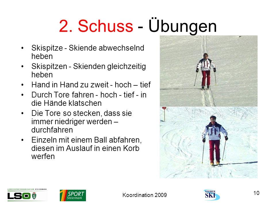 Koordination 2009 10 2. Schuss - Übungen Skispitze - Skiende abwechselnd heben Skispitzen - Skienden gleichzeitig heben Hand in Hand zu zweit - hoch –