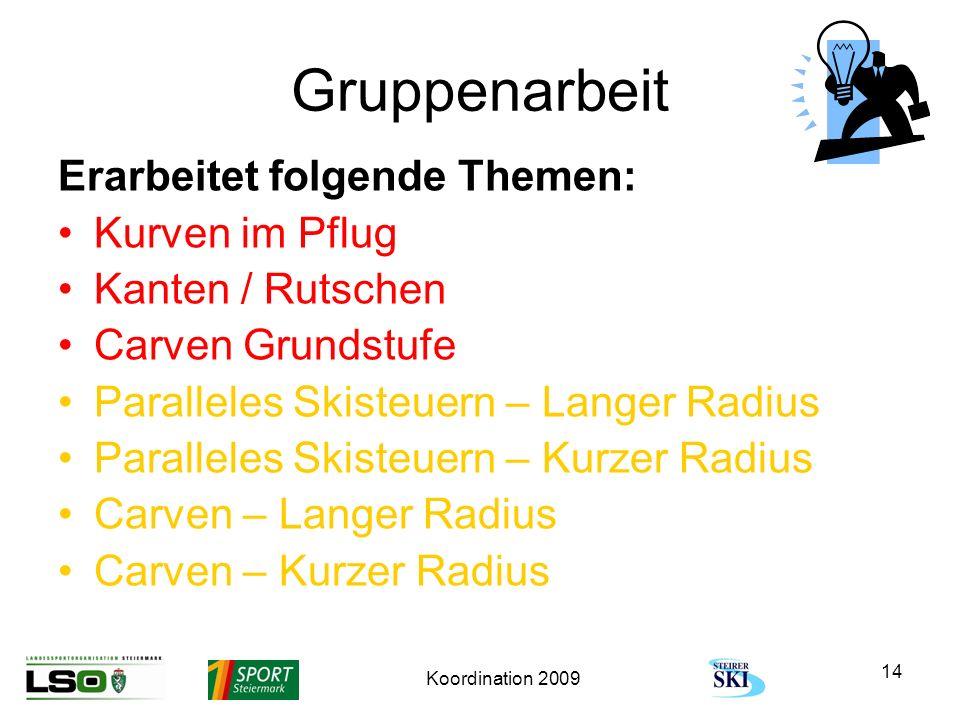 Koordination 2009 14 Gruppenarbeit Erarbeitet folgende Themen: Kurven im Pflug Kanten / Rutschen Carven Grundstufe Paralleles Skisteuern – Langer Radi