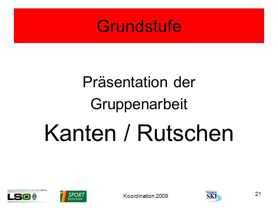 Koordination 2009 21 Grundstufe Präsentation der Gruppenarbeit Kanten / Rutschen
