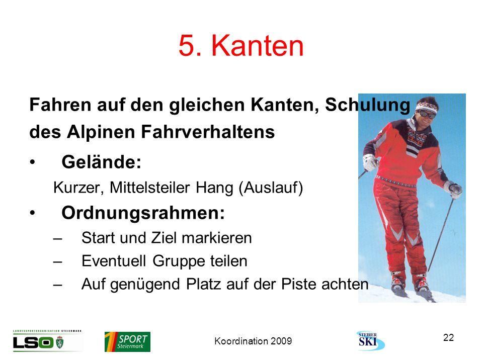 Koordination 2009 22 5. Kanten Fahren auf den gleichen Kanten, Schulung des Alpinen Fahrverhaltens Gelände: Kurzer, Mittelsteiler Hang (Auslauf) Ordnu