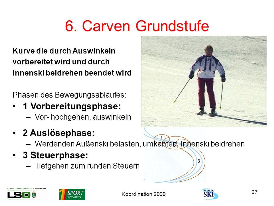 Koordination 2009 27 6. Carven Grundstufe Kurve die durch Auswinkeln vorbereitet wird und durch Innenski beidrehen beendet wird Phasen des Bewegungsab