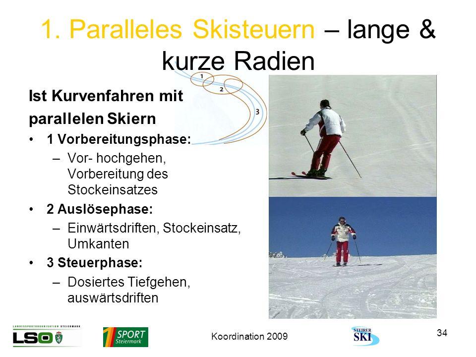 Koordination 2009 34 1. Paralleles Skisteuern – lange & kurze Radien Ist Kurvenfahren mit parallelen Skiern 1 Vorbereitungsphase: –Vor- hochgehen, Vor