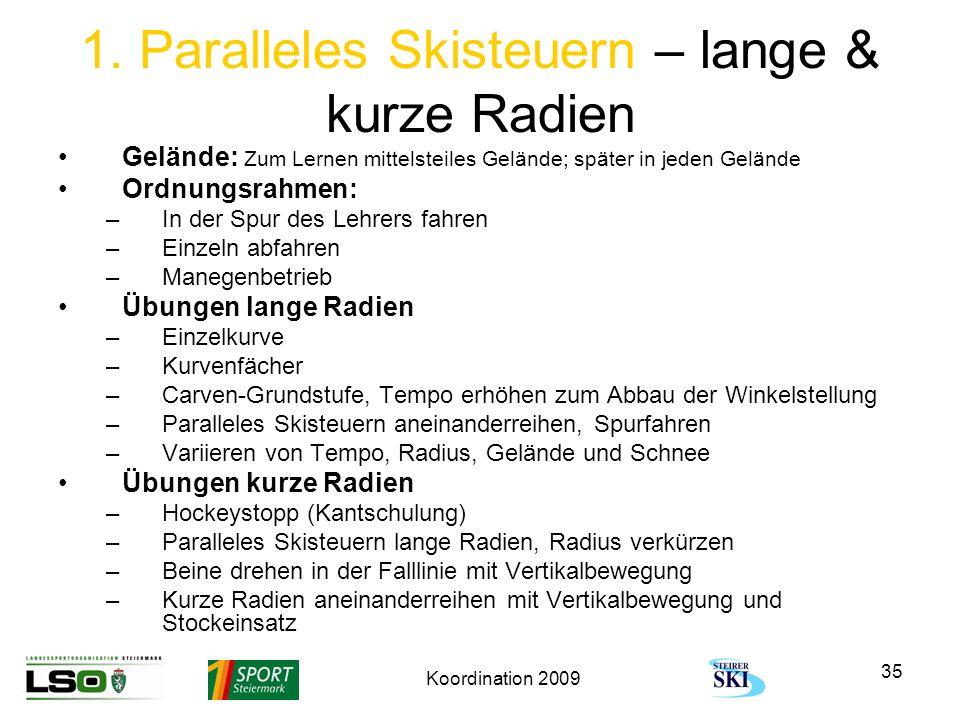 Koordination 2009 35 1. Paralleles Skisteuern – lange & kurze Radien Gelände: Zum Lernen mittelsteiles Gelände; später in jeden Gelände Ordnungsrahmen