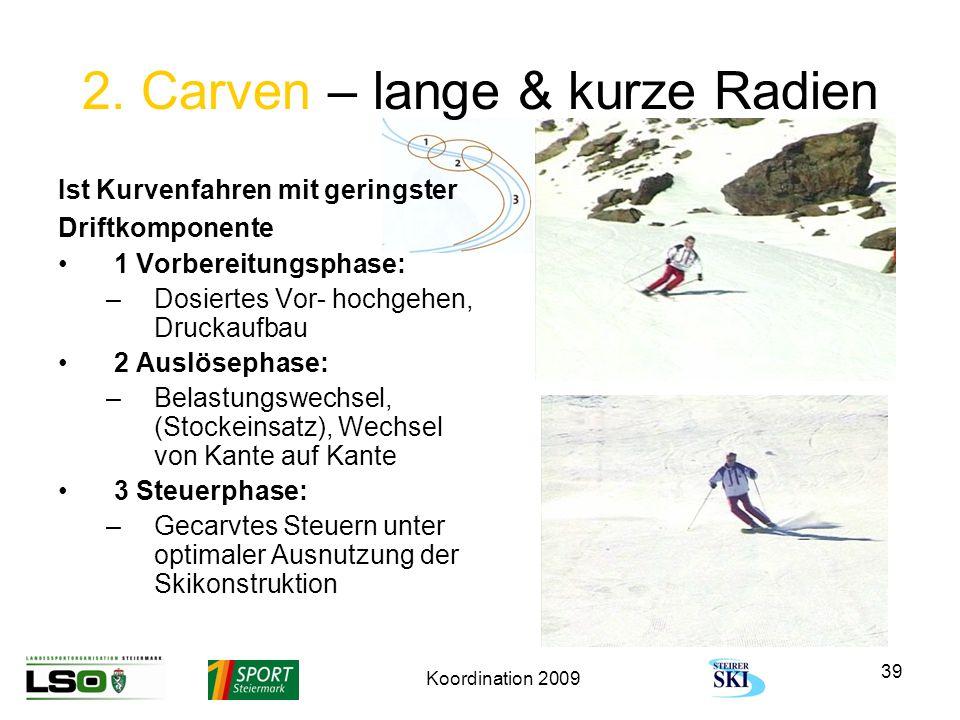 Koordination 2009 39 2. Carven – lange & kurze Radien Ist Kurvenfahren mit geringster Driftkomponente 1 Vorbereitungsphase: –Dosiertes Vor- hochgehen,