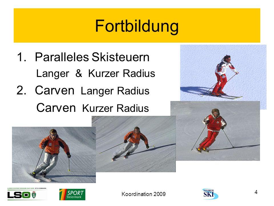 Koordination 2009 4 Fortbildung 1.Paralleles Skisteuern Langer & Kurzer Radius 2.Carven Langer Radius Carven Kurzer Radius