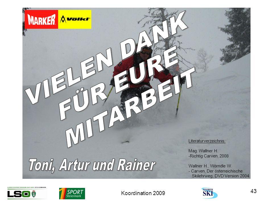 Koordination 2009 43 Literaturverzeichnis: Mag. Wallner H. -Richtig Carven, 2008 Wallner H., Wörndle W. - Carven, Der österreichische Skilehrweg, DVD
