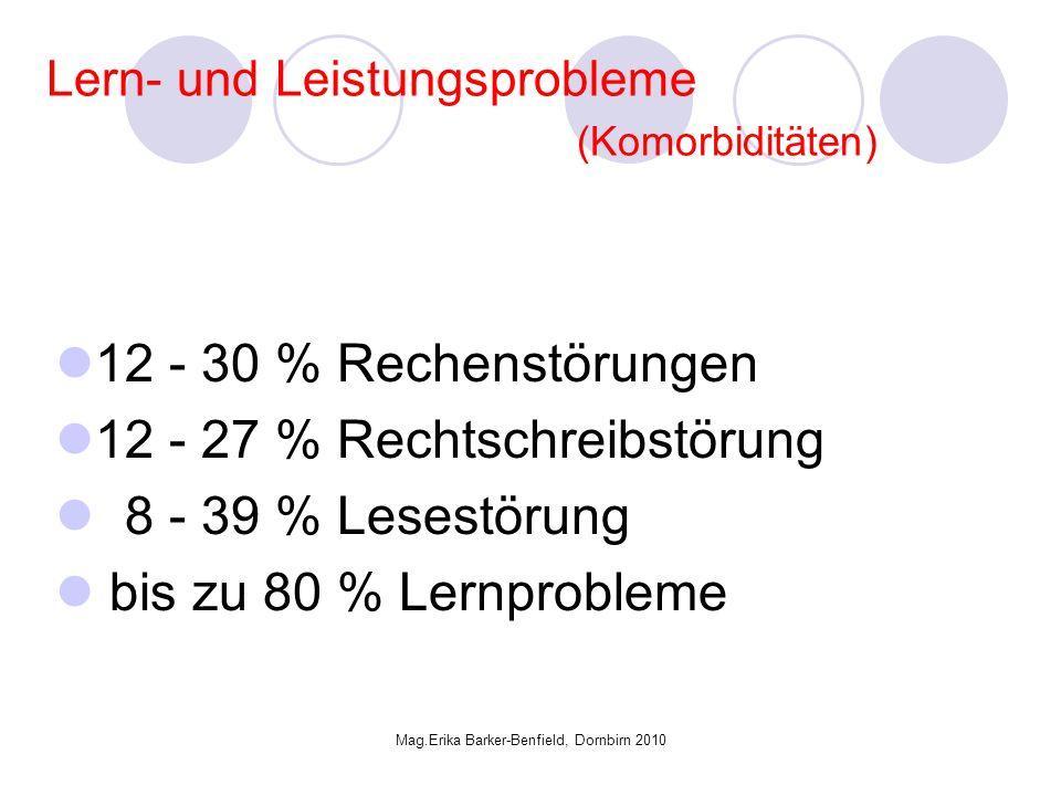 Mag.Erika Barker-Benfield, Dornbirn 2010 Lern- und Leistungsprobleme (Komorbiditäten) 12 - 30 % Rechenstörungen 12 - 27 % Rechtschreibstörung 8 - 39 % Lesestörung bis zu 80 % Lernprobleme