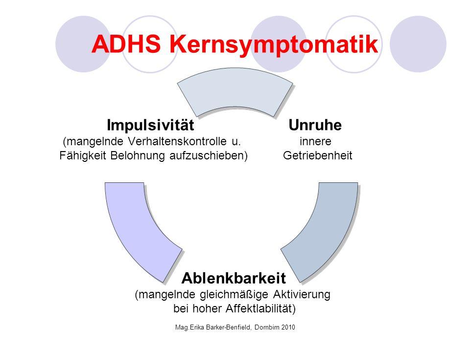 Mag.Erika Barker-Benfield, Dornbirn 2010 ADHS Kernsymptomatik Unruhe innere Getriebenheit Ablenkbarkeit (mangelnde gleichmäßige Aktivierung bei hoher Affektlabilität) Impulsivität (mangelnde Verhaltenskontrolle u.