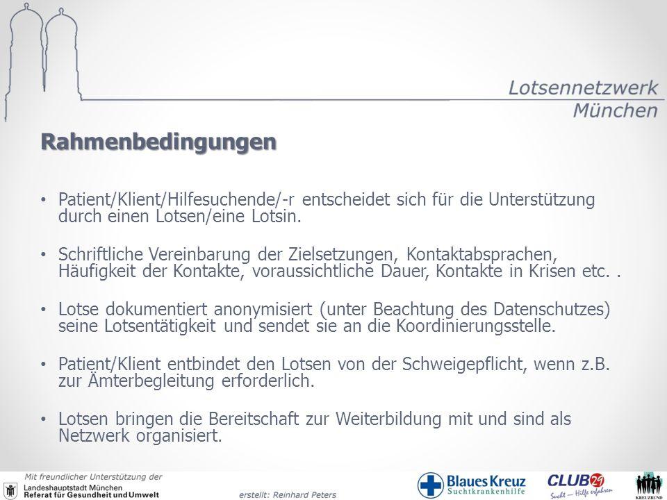 Rahmenbedingungen Patient/Klient/Hilfesuchende/-r entscheidet sich für die Unterstützung durch einen Lotsen/eine Lotsin. Schriftliche Vereinbarung der