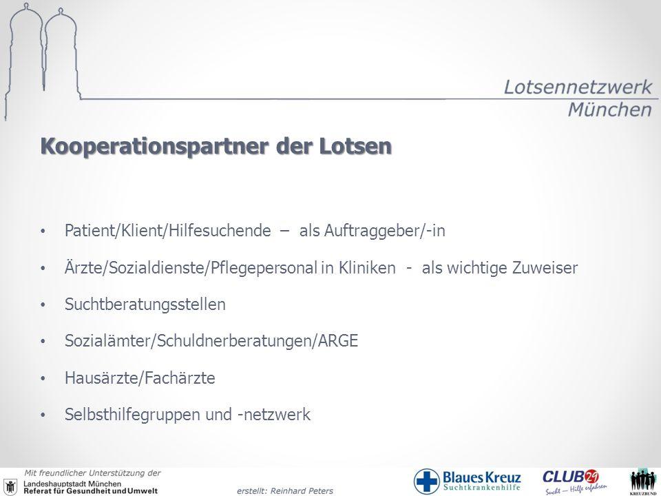 Kooperationspartner der Lotsen Patient/Klient/Hilfesuchende – als Auftraggeber/-in Ärzte/Sozialdienste/Pflegepersonal in Kliniken - als wichtige Zuwei