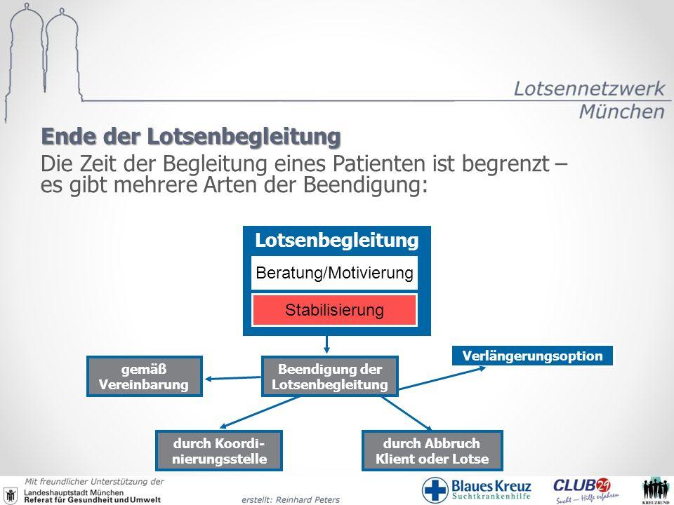 Ende der Lotsenbegleitung Die Zeit der Begleitung eines Patienten ist begrenzt – es gibt mehrere Arten der Beendigung: Lotsenbegleitung Stabilisierung
