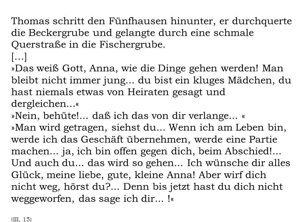 Thomas schritt den Fünfhausen hinunter, er durchquerte die Beckergrube und gelangte durch eine schmale Querstraße in die Fischergrube.