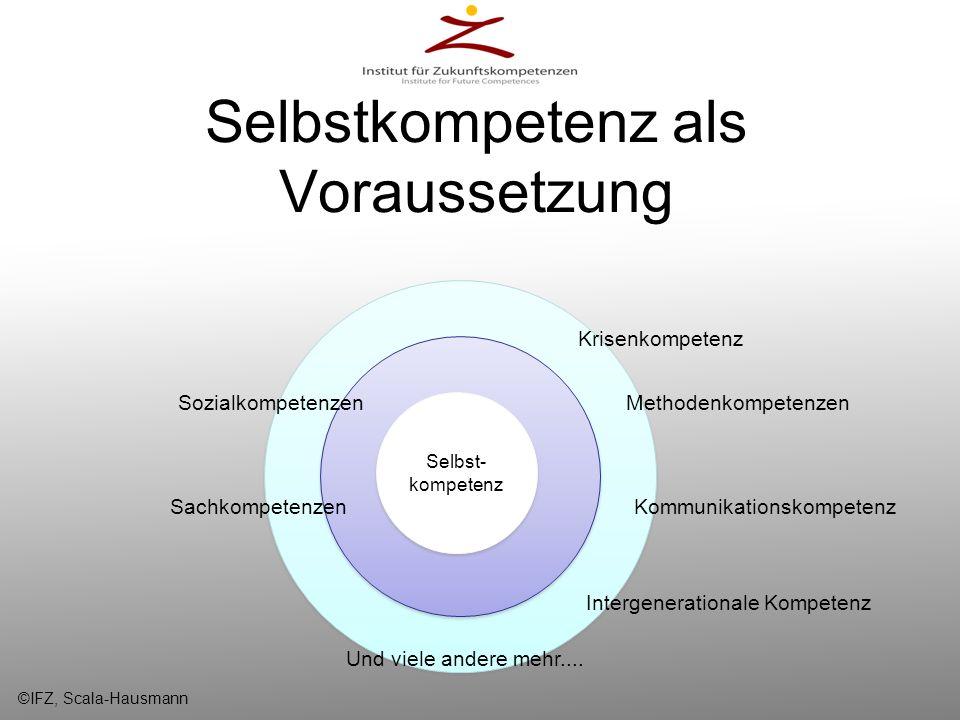 Selbstkompetenz als Voraussetzung Selbstkompetenz Selbst- kompetenz SozialkompetenzenMethodenkompetenzen Kommunikationskompetenz Krisenkompetenz Inter