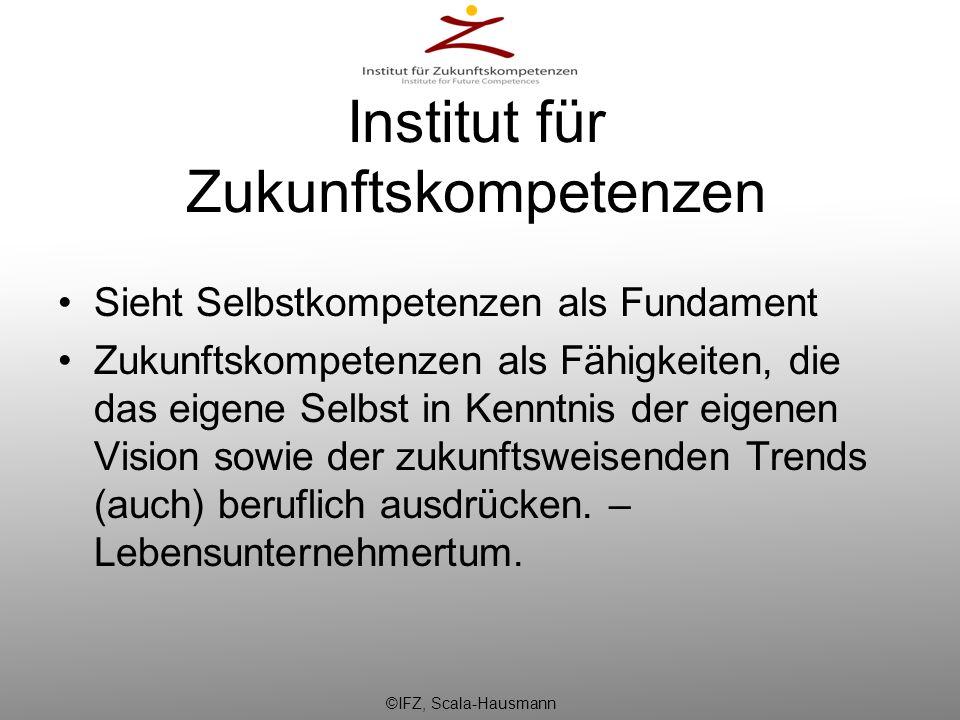 Institut für Zukunftskompetenzen Sieht Selbstkompetenzen als Fundament Zukunftskompetenzen als Fähigkeiten, die das eigene Selbst in Kenntnis der eige