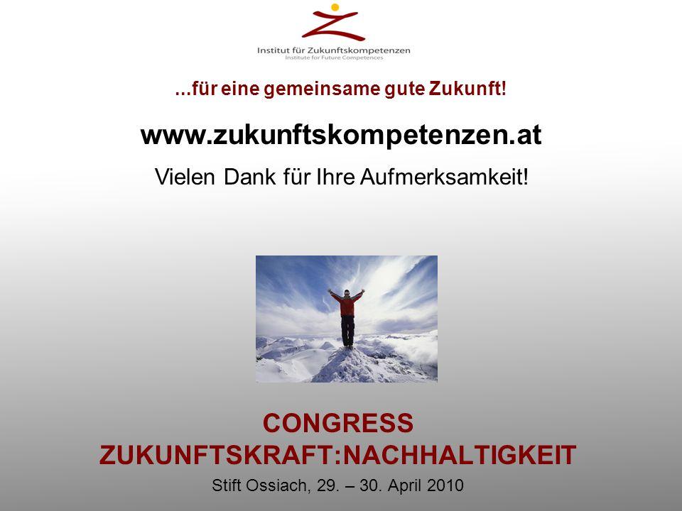 CONGRESS ZUKUNFTSKRAFT:NACHHALTIGKEIT Stift Ossiach, 29. – 30. April 2010...für eine gemeinsame gute Zukunft! www.zukunftskompetenzen.at Vielen Dank f
