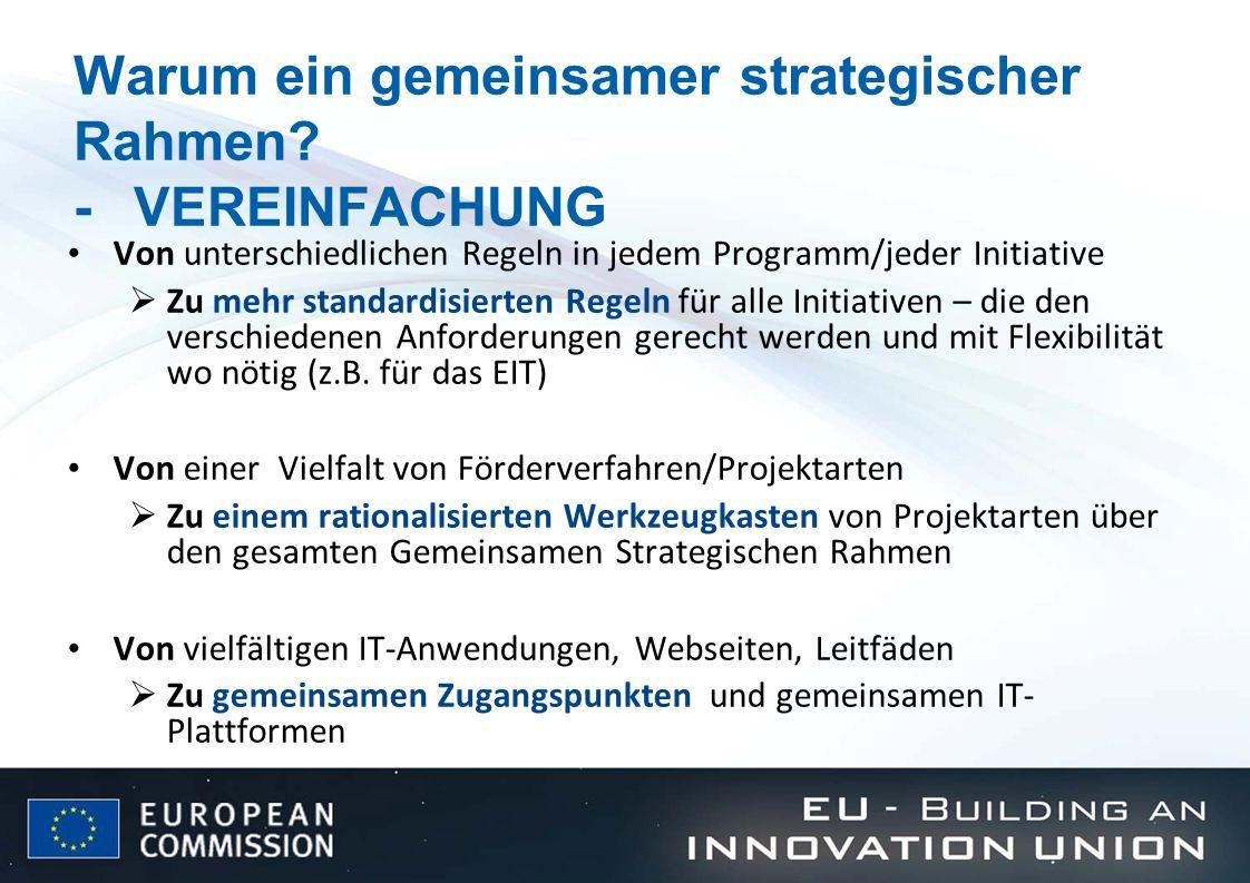 Warum ein gemeinsamer strategischer Rahmen? -VEREINFACHUNG Von unterschiedlichen Regeln in jedem Programm/jeder Initiative Zu mehr standardisierten Re