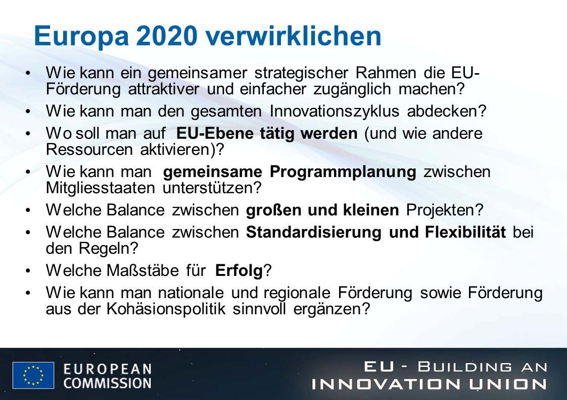 Europa 2020 verwirklichen Wie kann ein gemeinsamer strategischer Rahmen die EU- Förderung attraktiver und einfacher zugänglich machen? Wie kann man de