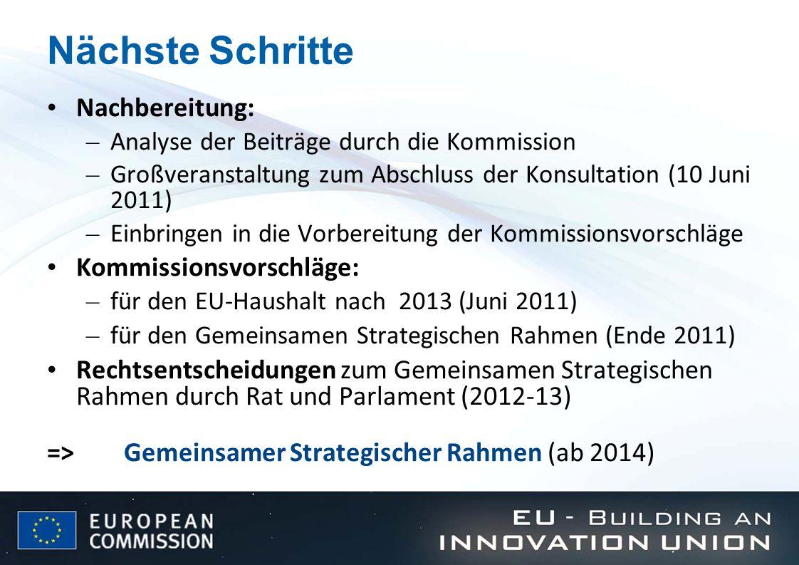 Nächste Schritte Nachbereitung: – Analyse der Beiträge durch die Kommission – Großveranstaltung zum Abschluss der Konsultation (10 Juni 2011) – Einbri