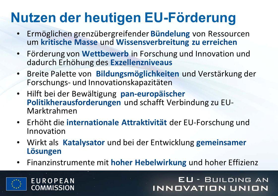Nutzen der heutigen EU-Förderung Ermöglichen grenzübergreifender Bündelung von Ressourcen um kritische Masse und Wissensverbreitung zu erreichen Förde
