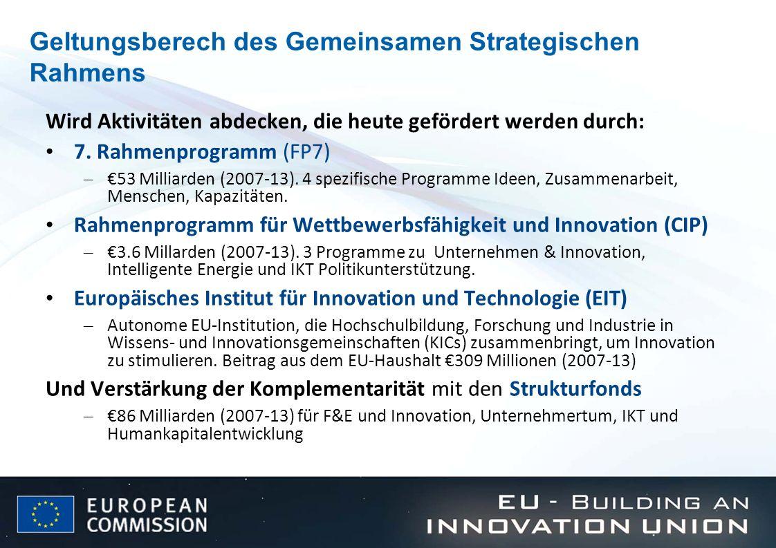 Geltungsberech des Gemeinsamen Strategischen Rahmens Wird Aktivitäten abdecken, die heute gefördert werden durch: 7. Rahmenprogramm (FP7) – 53 Milliar