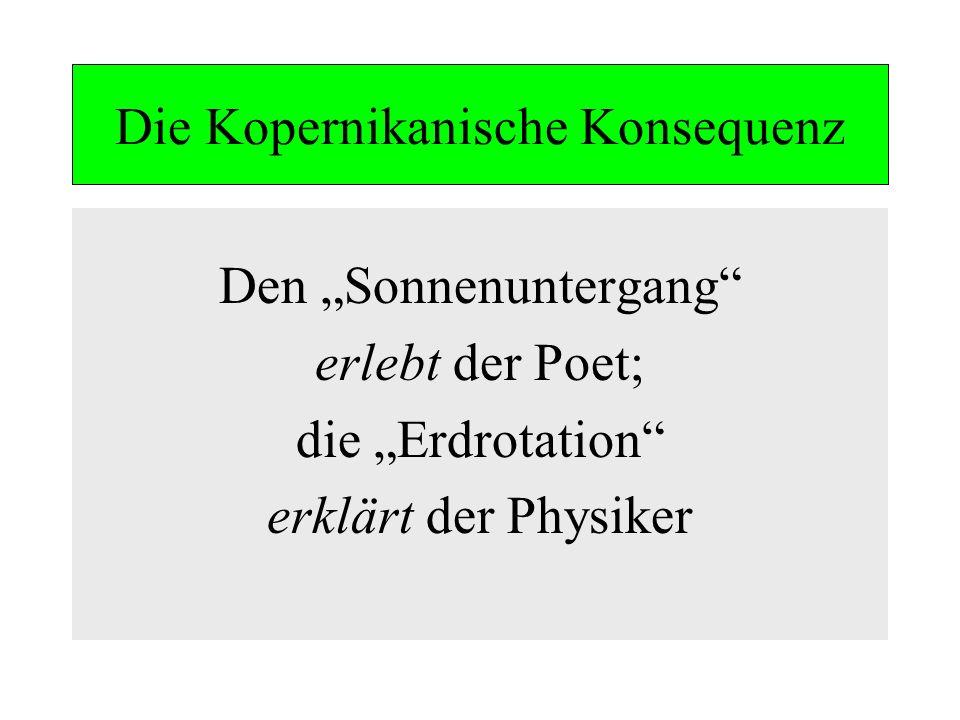 Die Kopernikanische Konsequenz Den Sonnenuntergang erlebt der Poet; die Erdrotation erklärt der Physiker