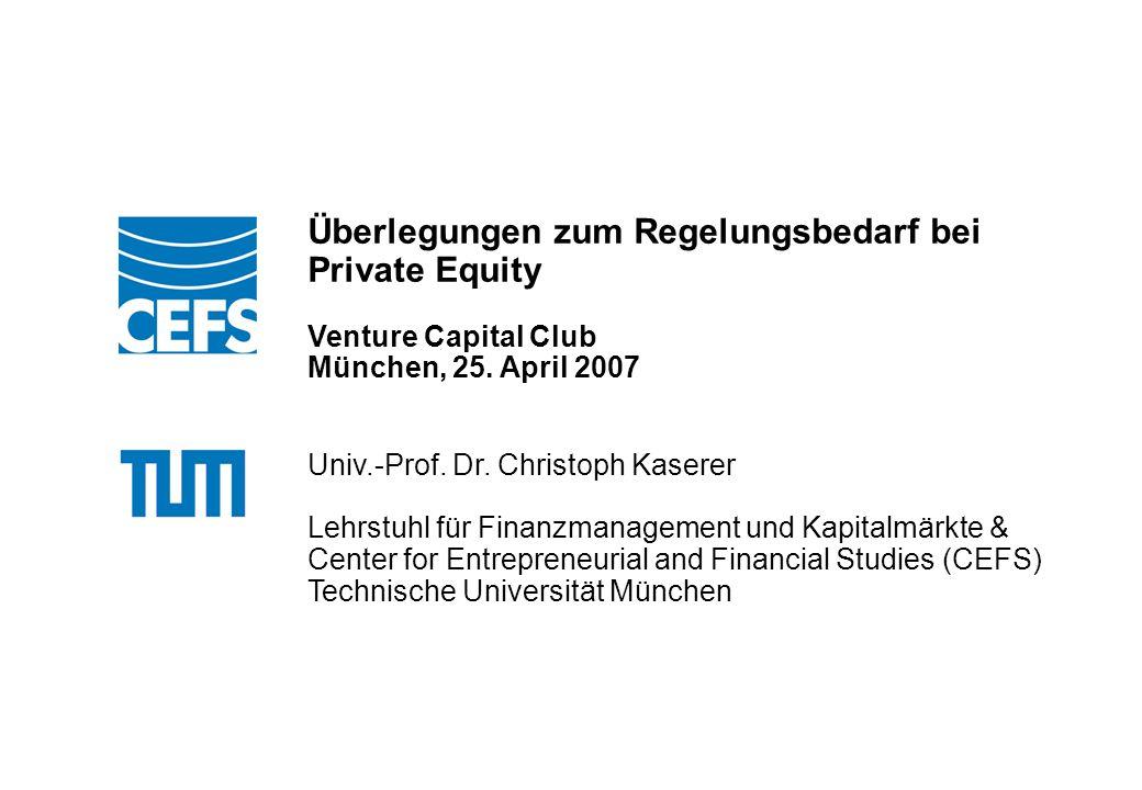 Klicken Sie, um das Titelformat zu bearbeiten 22/18 Handlungsempfehlungen im aufsichtsrechtlichen Bereich Einführung einer Zulassungspflicht (Zertifizierung) für Private-Equity-Fonds, verbunden mit einer Zulassungspflicht für deren Fondsmanager.